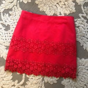 J crew red lace skirt